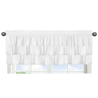 Sweet Jojo Designs Solid Color White Shabby Chic Ruffle Harper Collection Window Curtain Valance