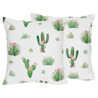 Sweet Jojo Designs Pink and Green Boho Watercolor Cactus Floral Collection 18-inch Decorative Throw Pillows (Set of 2)