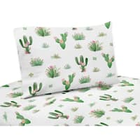 Sweet Jojo Designs Pink and Green Boho Watercolor Cactus Floral Collection 4-piece Queen Sheet Set