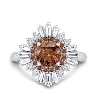 Auriya 14k Gold 1 3/4ct TDW Vintage Art-Deco Sunburst Brown and White Diamond Halo Engagement Ring