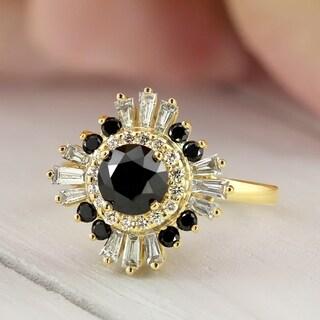 Auriya 14k Gold Vintage Ballerina 2 1/6ct TDW Baguette Halo Black Diamond Engagement Ring