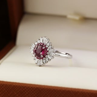 66a83923811 Shop Miadora Sterling Silver Created White Sapphire and 1 10ct TDW ...