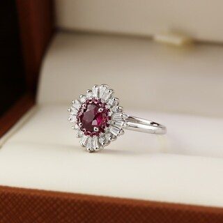 Auriya 14k Gold Vintage Art-Deco Sunburst 1 3/8ct Ruby and 5/8ct TDW Diamond Halo Engagement Ring