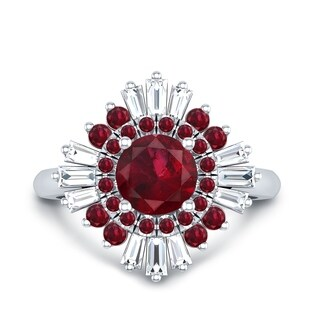 Round 1 1/3ct Red Ruby and 3/8ct TDW Baguette Diamond Ballerina Engagement Ring in 14k Gold by Auriya