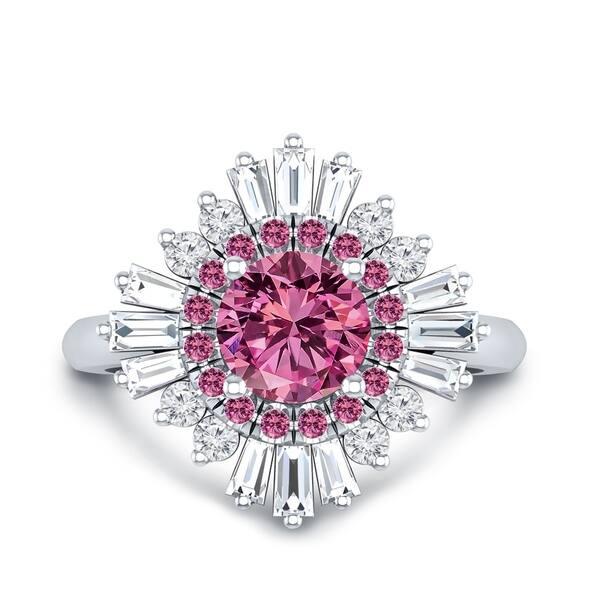 11f8f9390 Auriya 14k Gold Vintage Ballerina 1 3/8ct Pink Sapphire and 5/8ct TDW Halo  Diamond Engagement Ring