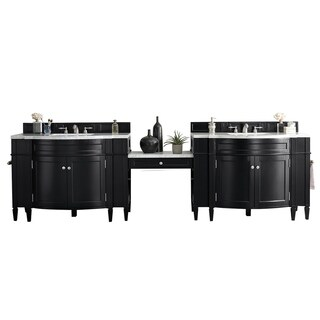 "Brittany 118"" Double Vanity Set, Black Onyx with Makeup Table, 3 CM Arctic Fall Solid Surface Top"