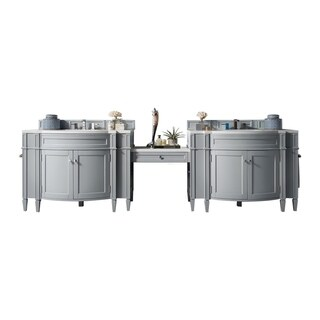 "Brittany 118"" Double Vanity Set, Urban Gray with Makeup Table, 3 CM Arctic Fall Solid Surface Top"