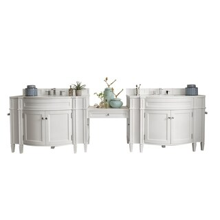 "Brittany 118"" Double Vanity Set, Cottage White with Makeup Table, 3 CM Arctic Fall Solid Surface Top"