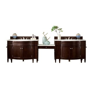 "Brittany 118"" Double Vanity Set, Burnished Mahogany with Makeup Table, 3 CM Arctic Fall Solid Surface Top"