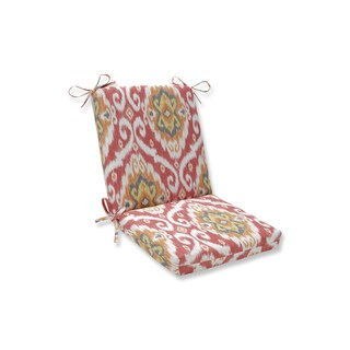 Pillow Perfect Outdoor / Indoor Ubud Coral Orange Squared Corners Chair Cushion