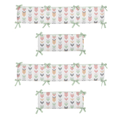 Sweet Jojo Designs Coral and Mint Mod Arrow Collection Baby Crib Bumper Pad