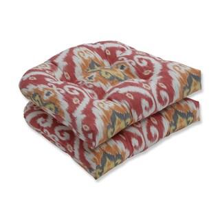 Pillow Perfect Outdoor / Indoor Ubud Coral Orange Wicker Seat Cushion (Set of 2)
