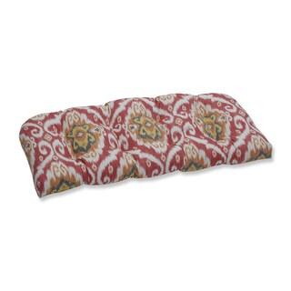 Pillow Perfect Outdoor / Indoor Ubud Coral Orange Wicker Loveseat Cushion