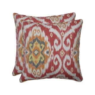 Pillow Perfect Outdoor / Indoor Ubud Coral Orange 18.5-inch Throw Pillow (Set of 2)