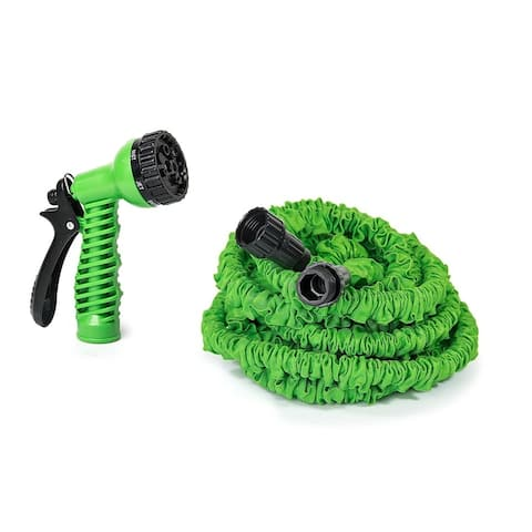 ALEKO Expandable Lawn Garden Hose 25 Foot 7-way Spray Nozzle Hose