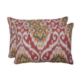 Pillow Perfect Outdoor / Indoor Ubud Coral Orange Over-sized Rectangular Throw Pillow (Set of 2)