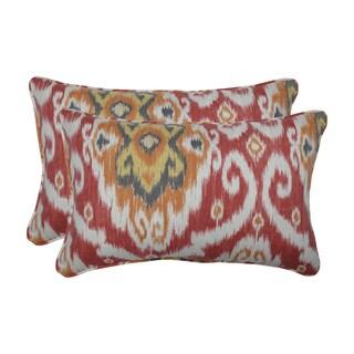 Pillow Perfect Outdoor / Indoor Ubud Coral Orange Rectangular Throw Pillow (Set of 2)