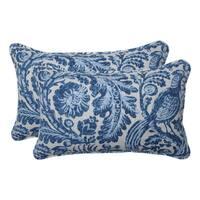Pillow Perfect Outdoor / Indoor Tucker Resist Azure Blue Rectangular Throw Pillow (Set of 2)