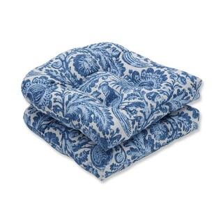 Pillow Perfect Outdoor / Indoor Tucker Resist Azure Blue Wicker Seat Cushion (Set of 2)