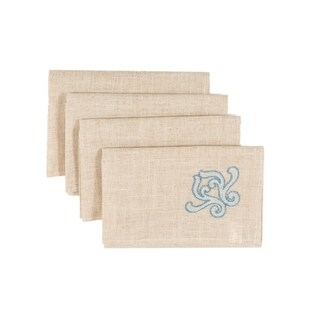 Celeste Glistening Embroidered Napkins, 20 by 20-Inch, Set of 4, Natural