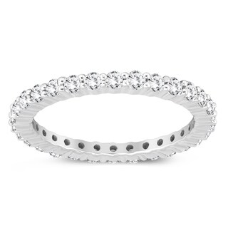 AGS Certified 1 Carat TW Diamond Eternity Band in 10K White Gold (K-L Color, I2-I3 Clarity)