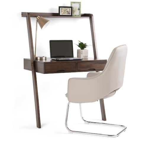WYNDENHALL Darren SOLID WOOD Rustic 36 inch Wide Modern Leaning Desk in Warm Walnut Brown