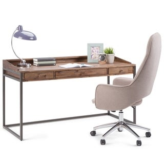 WYNDENHALL Brinkley Solid Acacia Wood Modern Industrial 60 inch Wide Writing Office Desk in Rustic Natural Aged Brown