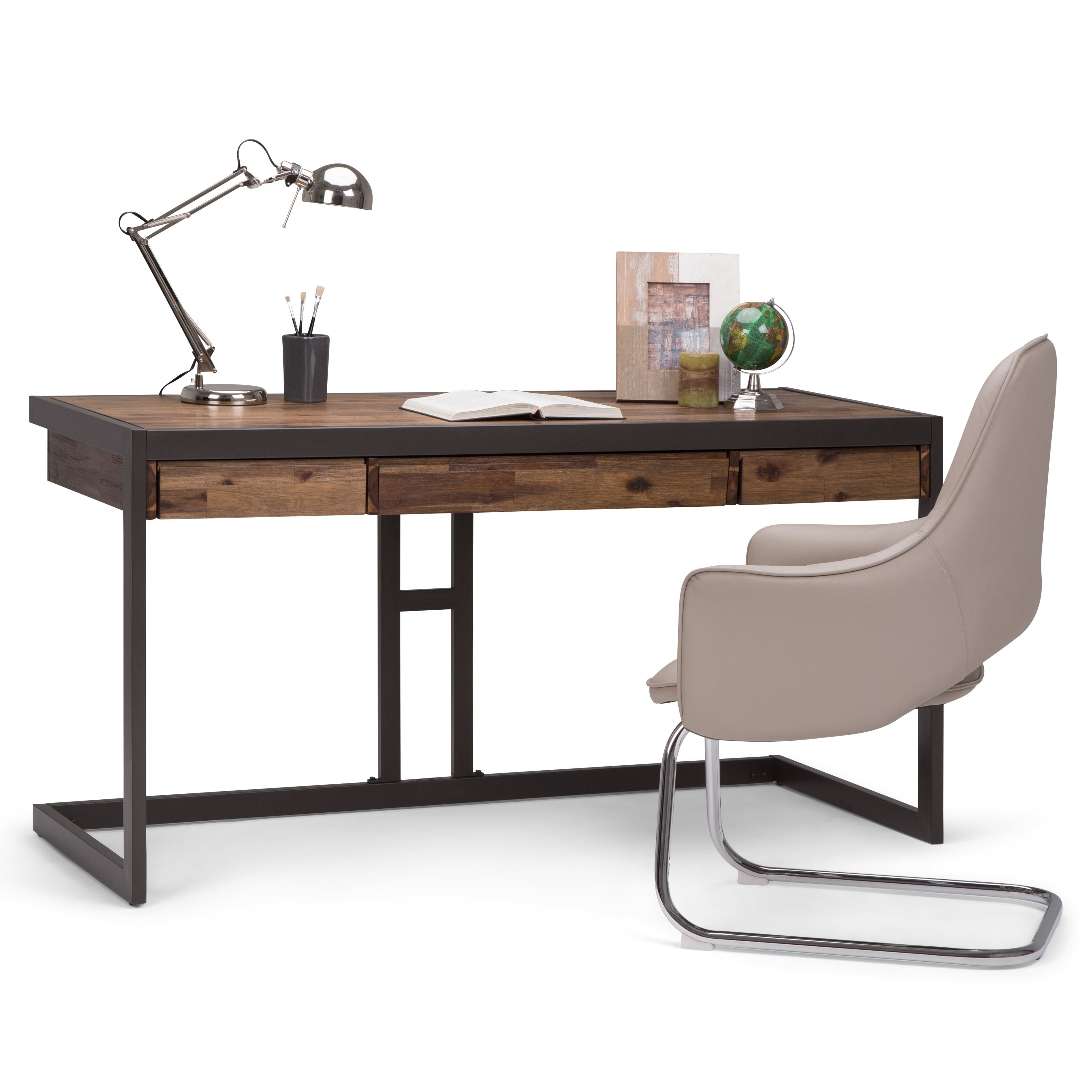 WYNDENHALL Cecilia Solid Acacia Wood Modern Industrial 60 inch Wide Writing  Office Desk