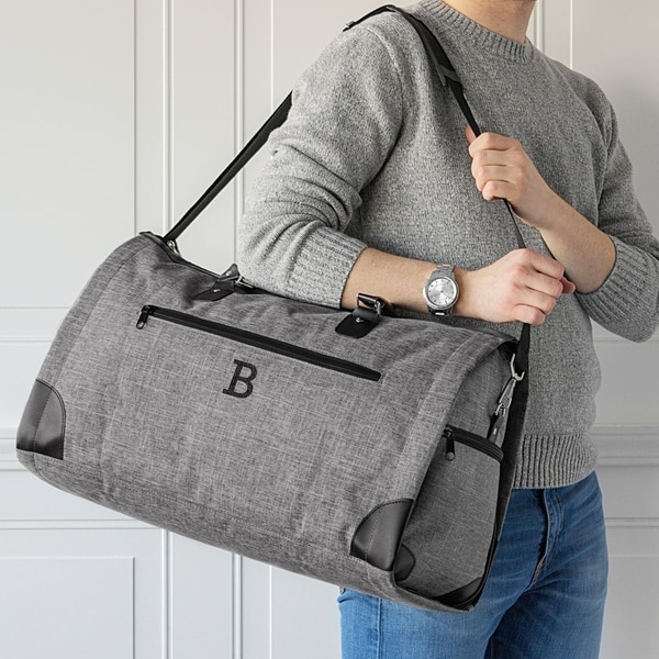 Shop Personalized Grey Convertible Garment Bag Duffel Bag - Free ... b05f1d09babf0