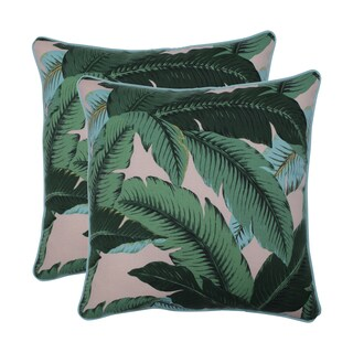 Pillow Perfect Outdoor / Indoor Swaying Palms Capri Blue 18.5-inch Throw Pillow (Set of 2)
