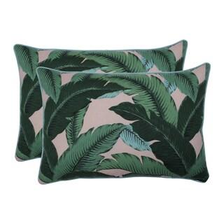 Pillow Perfect Outdoor / Indoor Swaying Palms Capri Blue Over-sized Rectangular Throw Pillow (Set of 2)