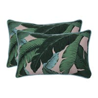 Pillow Perfect Outdoor / Indoor Swaying Palms Capri Blue Rectangular Throw Pillow (Set of 2)