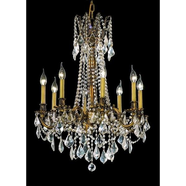 Fleur Illumination Crystal Accent French Gold Brass 8-light Chandelier