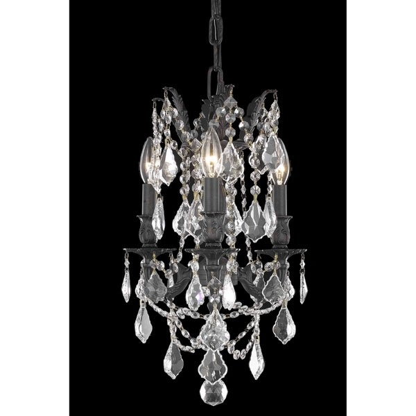 Fleur Illumination Dark Bronze Brass Crystal 3-light Pendant