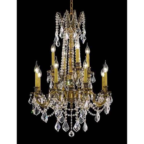 Fleur Illumination French Goldtone Brass/Crystal 12-light Chandelier