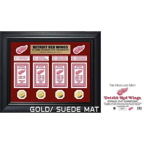 Detroit Red Wings 11-Time Stanley Cup Champions Deluxe Gold Coin & Banner Collection