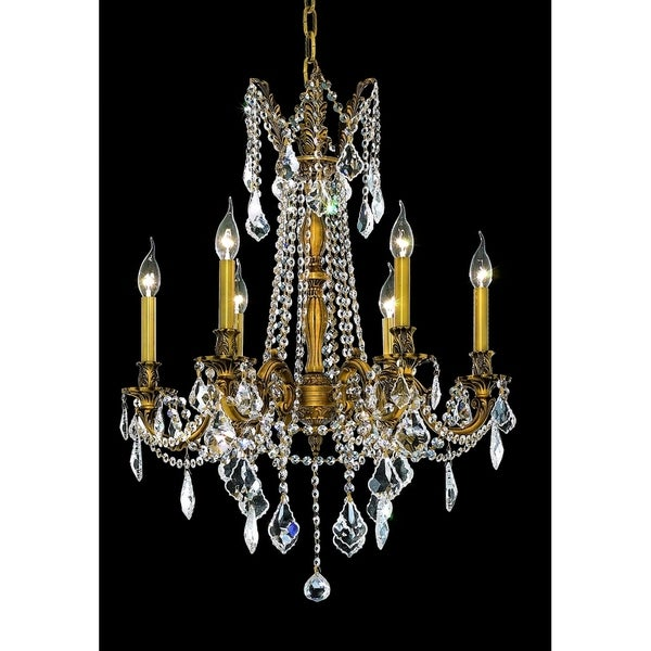 Fleur Illumination French Goldtone Brass/Crystal 6-light Chandelier