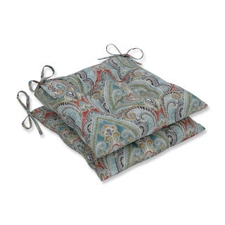 Pillow Perfect Outdoor / Indoor Pretty Witty Reef Blue Wrought Iron Seat Cushion (Set of 2)