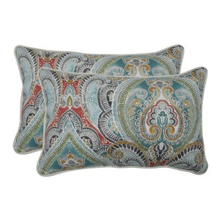 Pillow Perfect Outdoor / Indoor Pretty Witty Reef Blue Rectangular Throw Pillow (Set of 2)