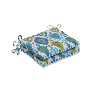 Pillow Perfect Outdoor / Indoor Paso Caribe Blue Squared Corners Seat Cushion (Set of 2)