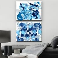 Ready2HangArt 'Rainy Moves I/II' Wrapped Canvas Art Set - Blue
