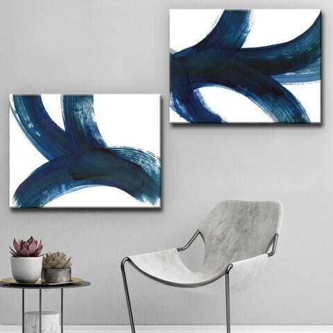Ready2HangArt 'On the Move I/II' Wrapped Canvas Art Set - Blue