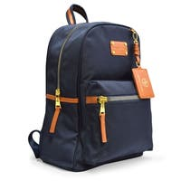 Adrienne Vittadini Nylon Backpack with 13 Inch Padded Laptop Sleeve-Navy