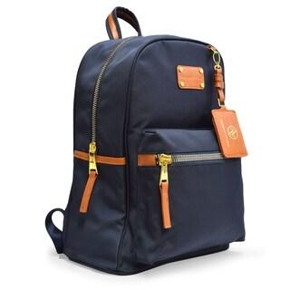 Adrienne Vittadini Nylon Backpack with 13 Inch Padded Laptop Sleeve-Navy