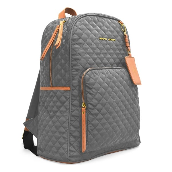 8c28d21e9f64 Adrienne Vittadini Quilted Backpack with 13 Inch Padded Laptop Sleeve-Grey