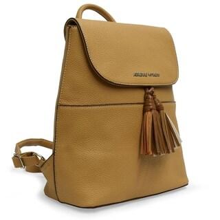 Adrienne Vittadini Pebble Grain Backpack With Fashion Tassel-Taupe