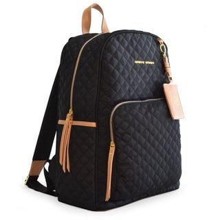 Adrienne Vittadini Quilted Backpack with 13 Inch Padded Laptop Sleeve-Black