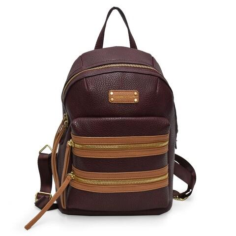 Adrienne Vittadini Pebbel Grain Double Front Zip Backpack-Brown