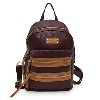 Adrienne Vittadini Pebbel Grain Double Front Zip Backpack-Brown