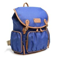 Adrienne Vittadini Two-Tone Nylon Collection Backpack-Denim Blue